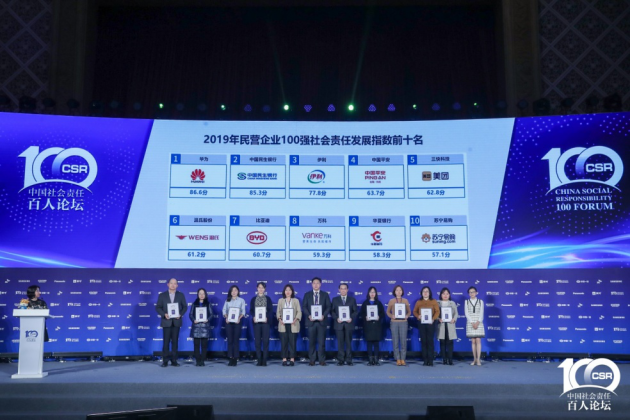 2019年民营企业100强社会责任发展指数榜单发布 美团名列第五